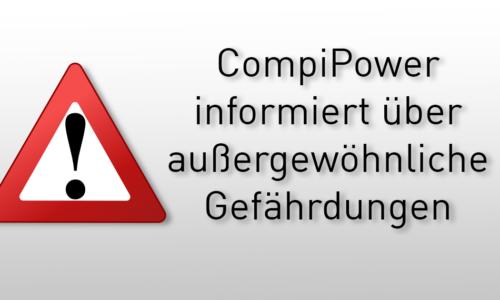 Warnung, dass Compipower über außergewöhnliche Gefährdungen informiert