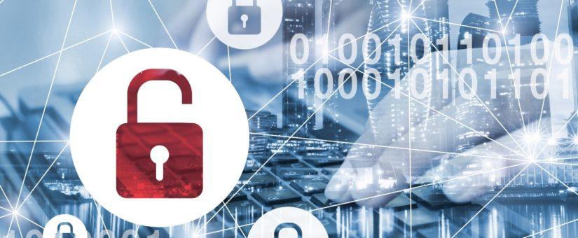 Doppelbelichtung futuristischer Cyber-Hintergrund mit offenen Schloss