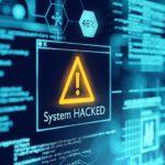 System Hacked Fenster mit Warnsignal